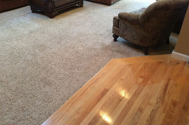 hardwood and carpet combo